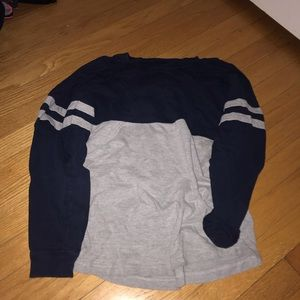 Gray and navy blue long sleeve,